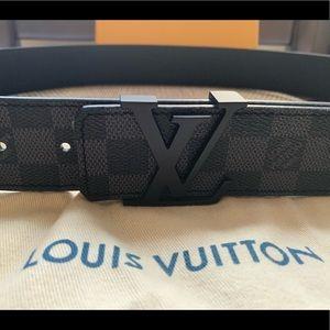 Slightly worn black LV Damier belt